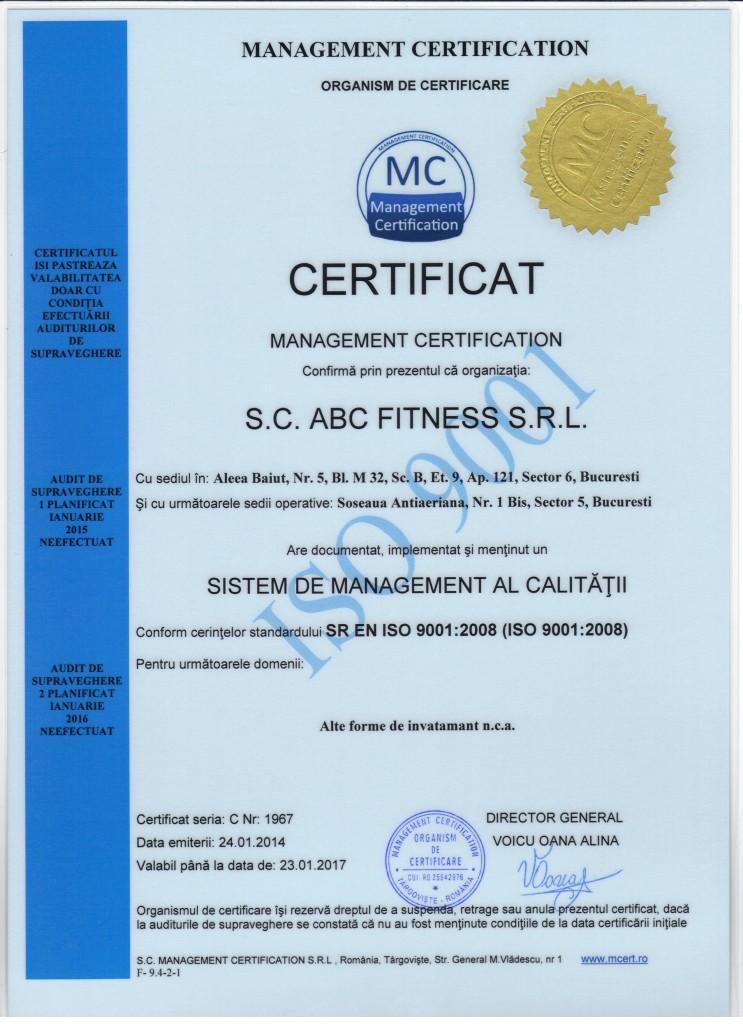 CERTIFICAT ISO ABC FITNESS 001