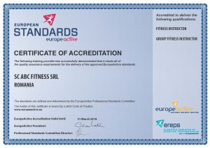 europeactive certificat de acreditare curs instructor fitness