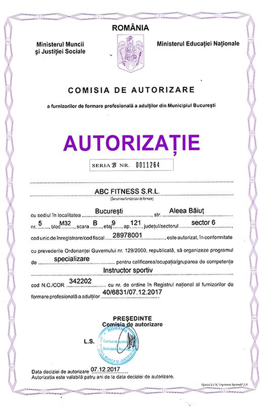 autorizatie curs instructor sportiv