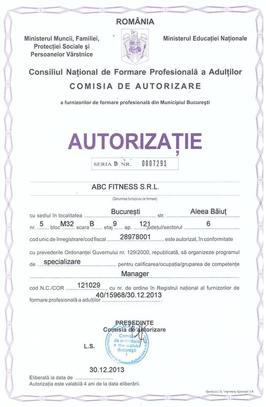 autorizatie curs manager