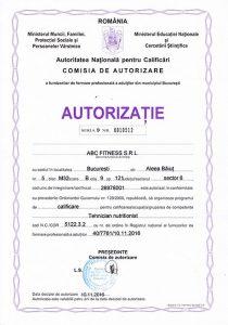 autorizatie curs tehnician nutritionist