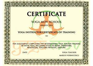certificat yoga