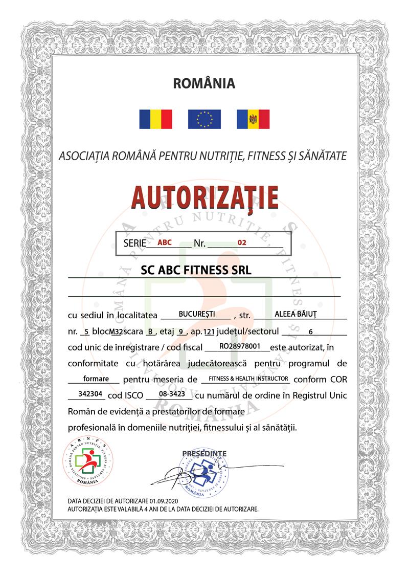 autorizatie arnfs fitness